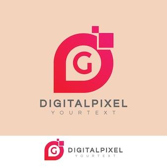 Iniziale di pixel digitali lettera g logo design