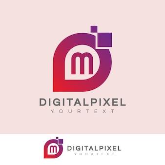 Iniziale di pixel digitali lettera m logo design