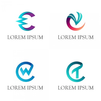 Iniziale lettera c monogramma logo
