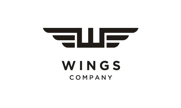 Iniziale / monogramma w con design logo wings