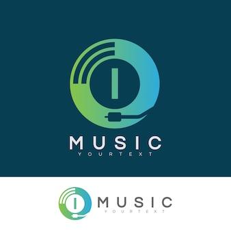 Iniziale musicale lettera i logo design