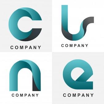 Iniziali quattro design logo blu
