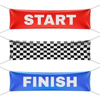 Iniziare a finire e striscioni in vinile a scacchi
