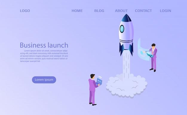 Inizio dell'uomo d'affari per lanciare un razzo spaziale