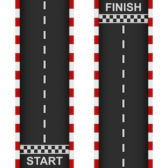 Inizio e fine della strada da corsa