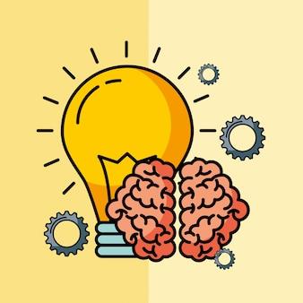 Innovazione della lampadina idea creativa del cervello