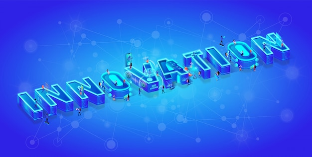 Innovazione di parola 3d isometrica e piccoli personaggi