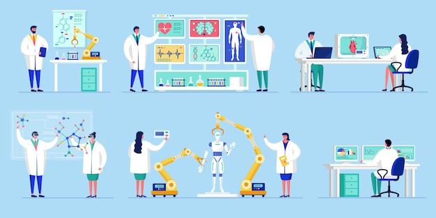 Innovazione nella tecnologia scientifica, persone che lavorano in laboratorio con illustrazione di ricerca di intelligenza artificiale.
