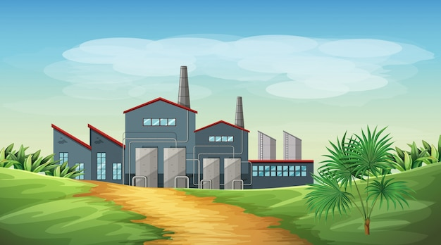 Inquinamento dalla scena a tema di fabbrica in natura