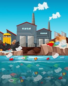Inquinamento delle acque con sacchetti di plastica nel fiume