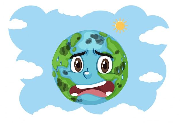 Inquinamento su terra che grida con il fondo del cielo blu