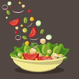 Insalata deliziosa e sana nella ciotola