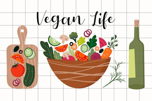 Insalata di verdure fresche con olio d'oliva e tavola di legno