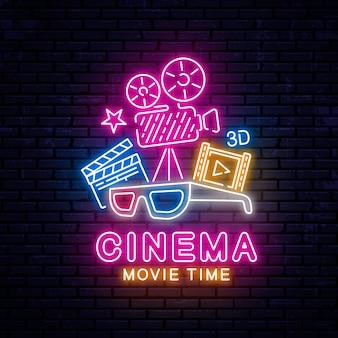 Insegna al cinema al neon incandescente
