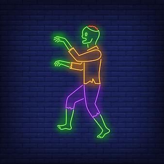 Insegna al neon a piedi zombie
