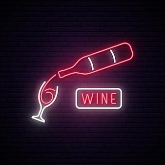 Insegna al neon al vino.