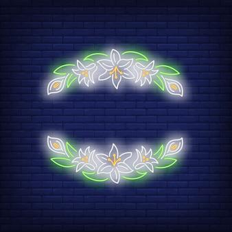 Insegna al neon bella cornice floreale