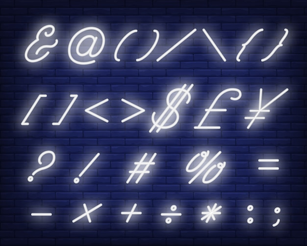 Insegna al neon bianca di simboli del testo corsivo