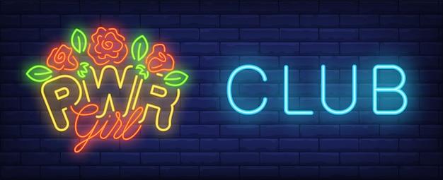 Insegna al neon club ragazza pwr