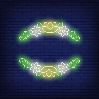 Insegna al neon con cornice floreale