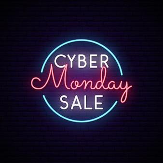 Insegna al neon cyber di lunedì nel cerchio. segno di vendita