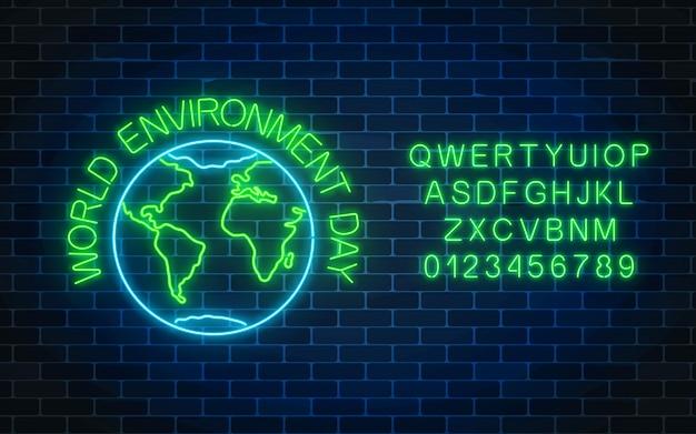 Insegna al neon d'ardore della giornata mondiale dell'ambiente con il simbolo e l'alfabeto del globo.