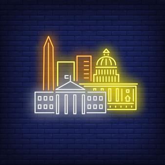 Insegna al neon degli edifici di washington dc. attrazione, turismo, viaggi.