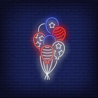 Insegna al neon dei palloni della bandiera di usa simbolo usa, storia.