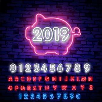 Insegna al neon del 2019 nuovo anno, insegna luminosa, carattere tipografico al neon