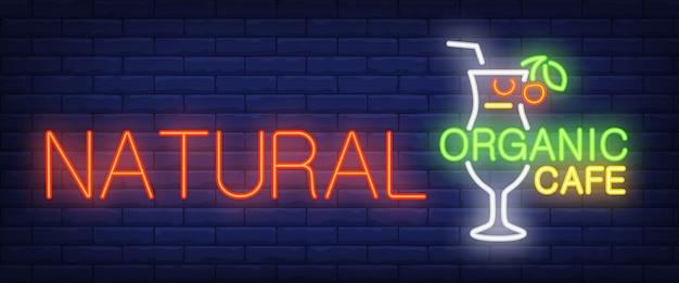 Insegna al neon del caffè organico naturale