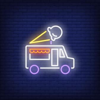 Insegna al neon del camion del gelato