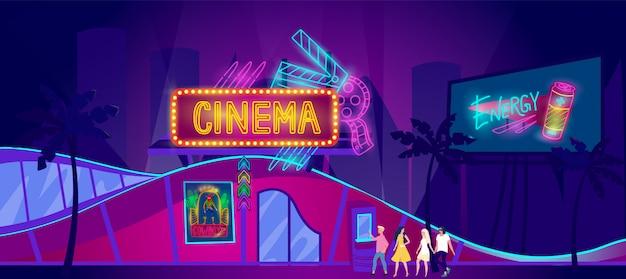 Insegna al neon del cinema, i giovani vanno al cinema di notte, illustrazione