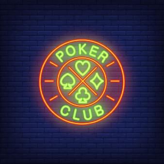 Insegna al neon del club di poker