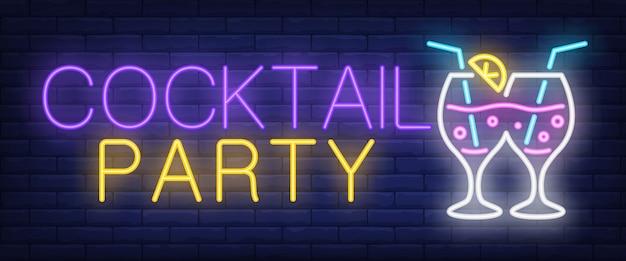 Insegna al neon del cocktail party