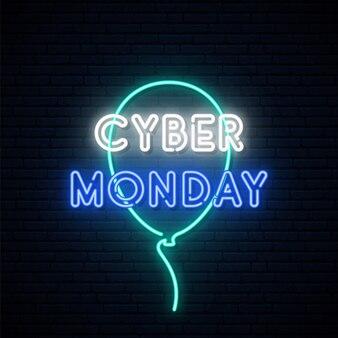 Insegna al neon del cyber monday.
