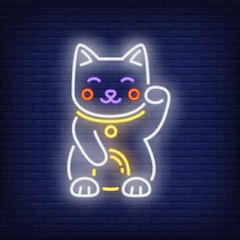 Insegna al neon del gatto maneki neko