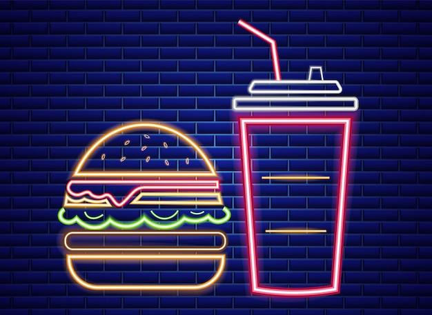 Insegna al neon del menu del pranzo di fast food