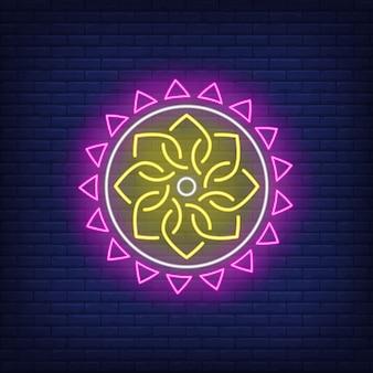 Insegna al neon del modello della mandala rotonda etnica