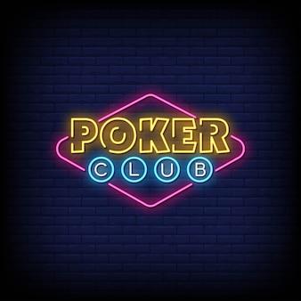 Insegna al neon del poker club sul muro di mattoni