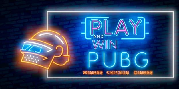 Insegna al neon del vincitore della cena del pollo del vincitore