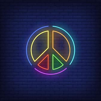 Insegna al neon dell'emblema di pace colorata arcobaleno