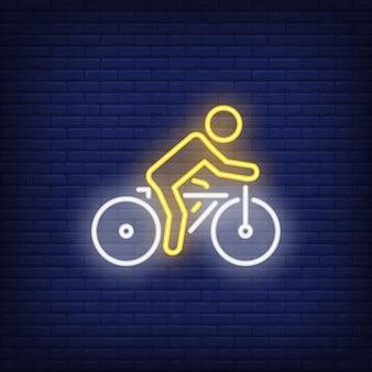Insegna al neon della bicicletta di guida del ciclista