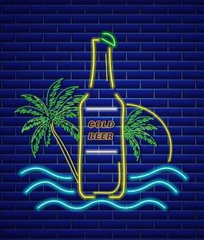 Insegna al neon della bottiglia di birra