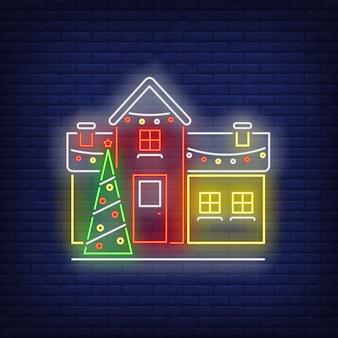 Insegna al neon della casa del nuovo anno