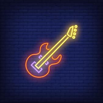 Insegna al neon della chitarra bassa