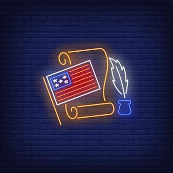 Insegna al neon della dichiarazione di indipendenza