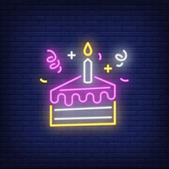Insegna al neon della fetta della torta