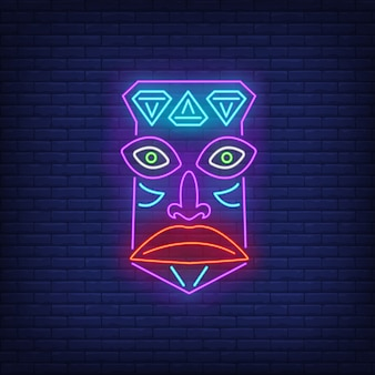 Insegna al neon della maschera tribale