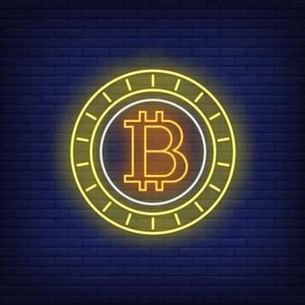 Insegna al neon della moneta di criptovaluta bitcoin