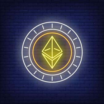Insegna al neon della moneta di criptovaluta di ethereum.